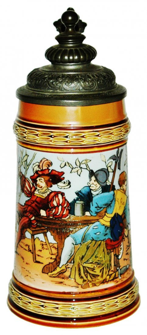 Mettlach Drinkers Stein w Uncommon Blue Color
