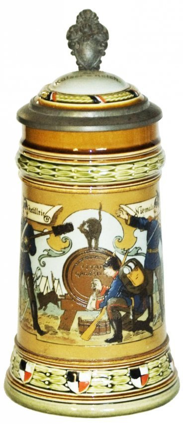Mettlach Soldiers Tapping a Barrel Stein w Inlay