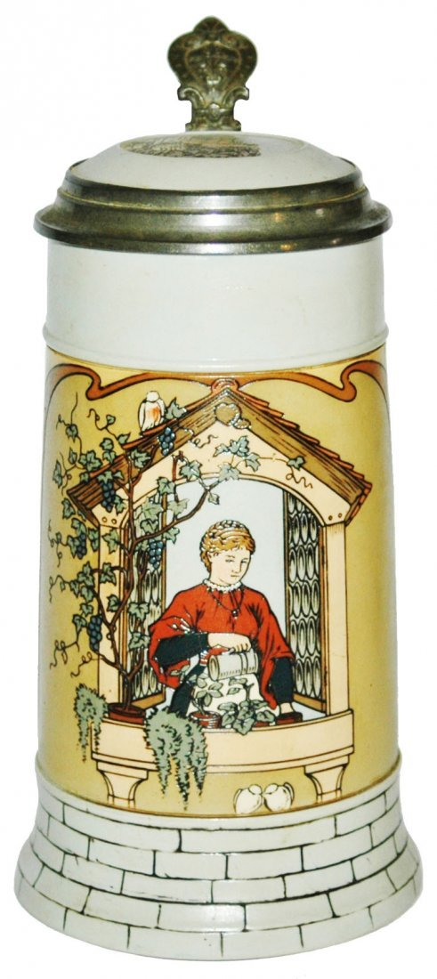 Woman in Window Mettlach Stein w Inlay Lid