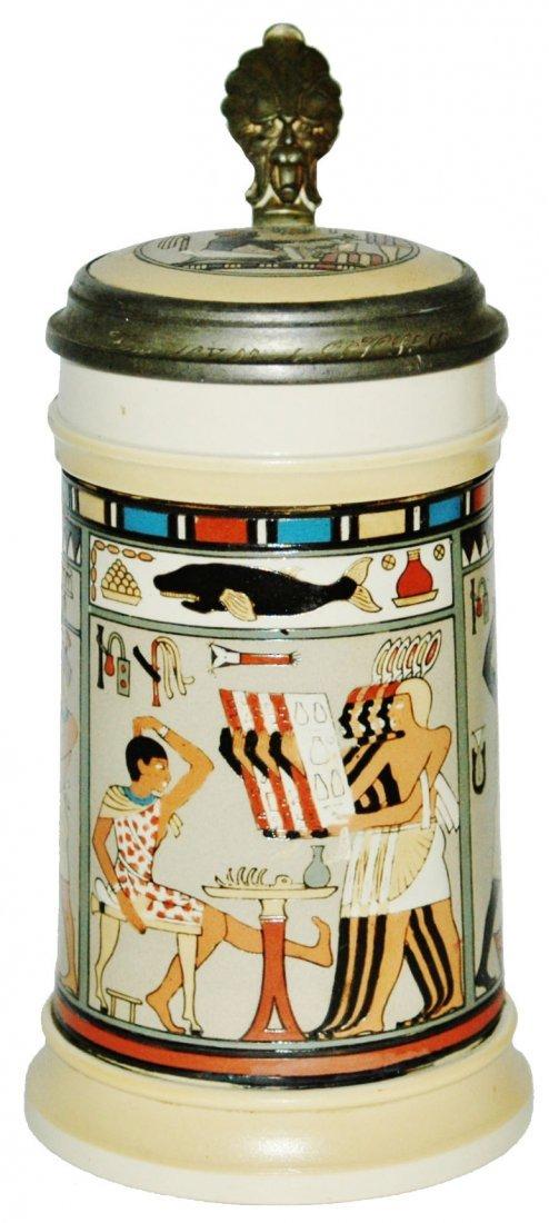 Egyptian Scenes Mettlach Stein w Inlay Lid