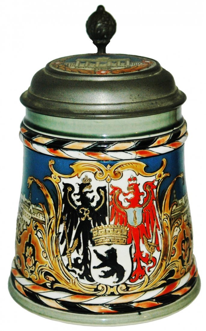 Mettlach Berlin shield Etched Stein w Inlay Lid