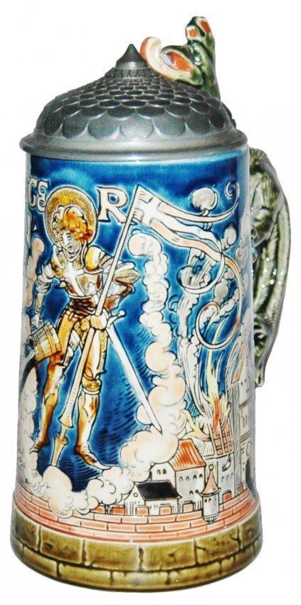 St Florian Mettlach Stein w Dragon Handle
