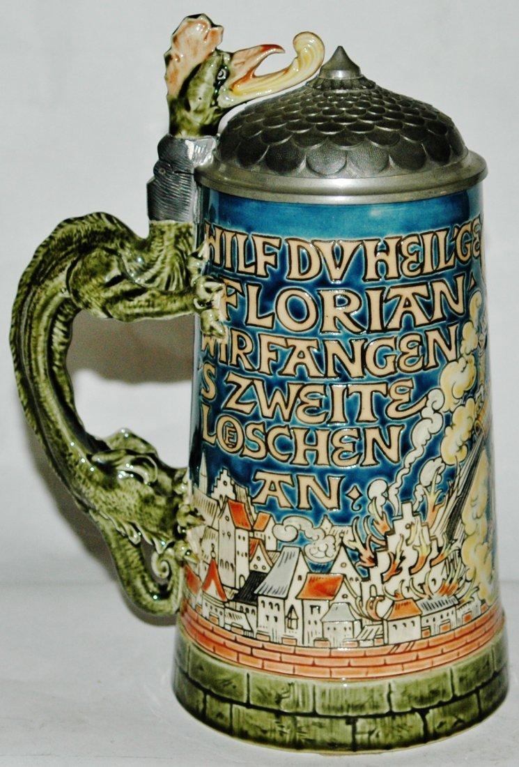 St Florian Mettlach Stein w Dragon Handle - 2