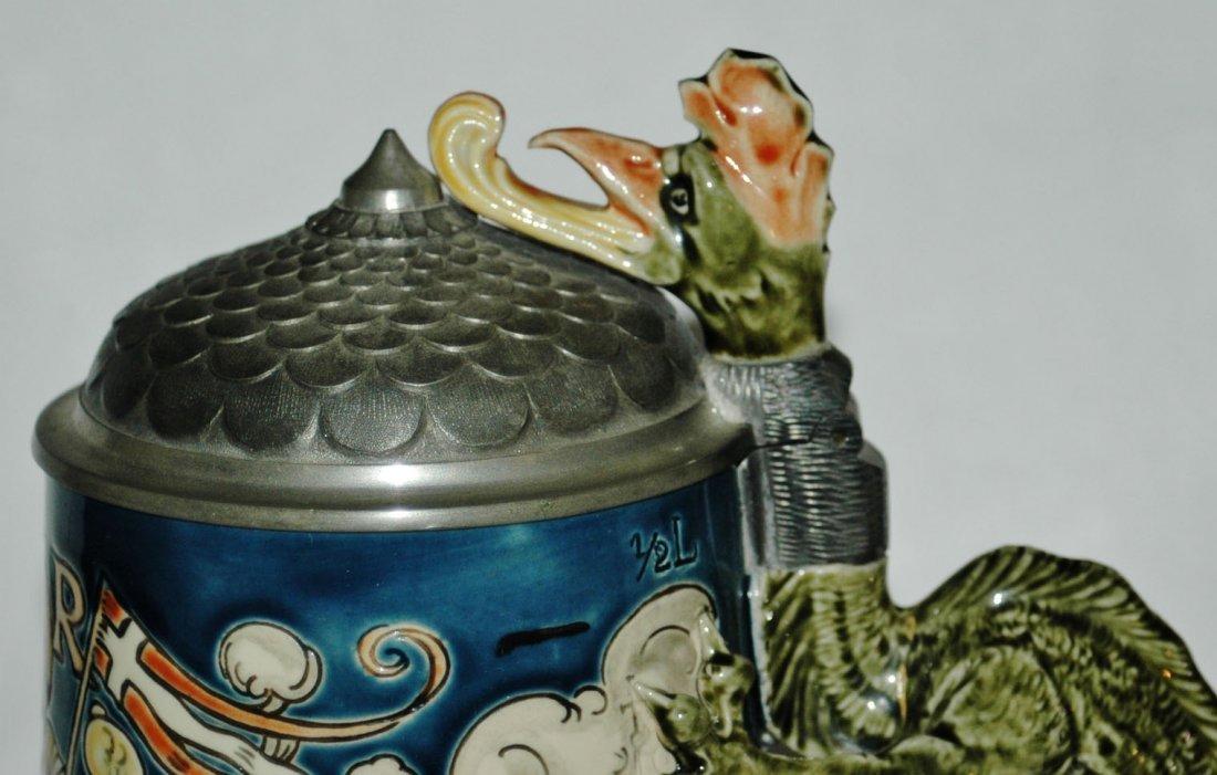 St Florian Mettlach Stein w Dragon Handle - 5