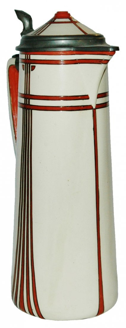 3L Art Deco Mettlach Stein Matched Inlay Lid