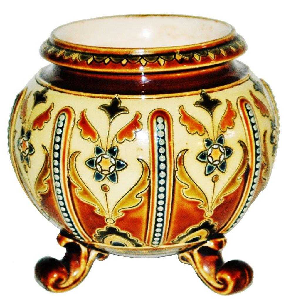 Mettlach Floral Mosaic Vase w 3 Feet