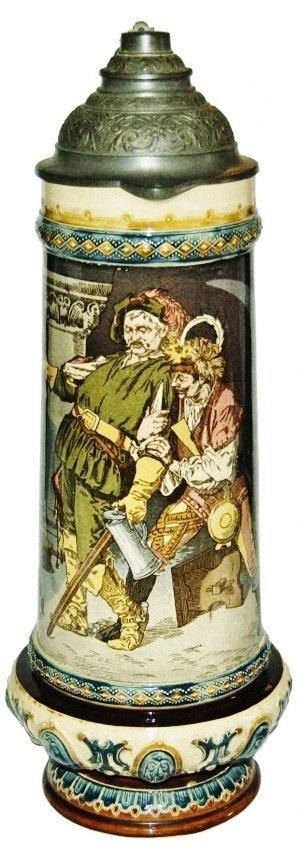 2L Drunk Cavaliers in Wine Cellar Mettlach Stein