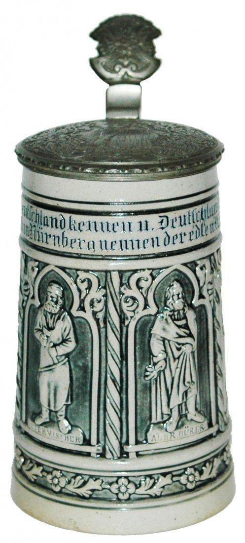 Nurnberg Artists Stoneware Stein w Fancy Lid