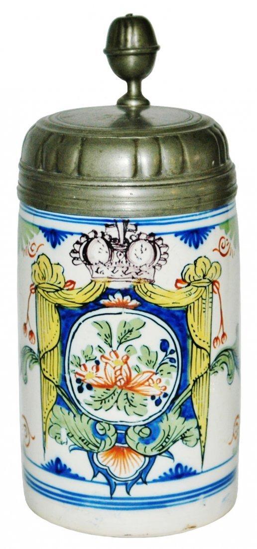 1742 Erfurt Faience 1L Floral Under Crown Stein
