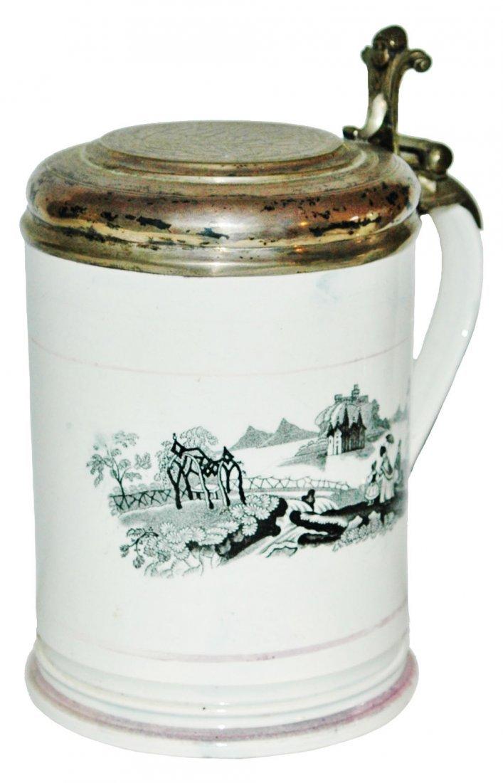 Unusual Creamware 1L Sterling Silver Lid Stein
