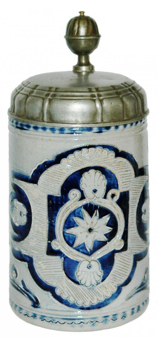 1780 Westerwald Stoneware 1L Cobalt Floral Stein