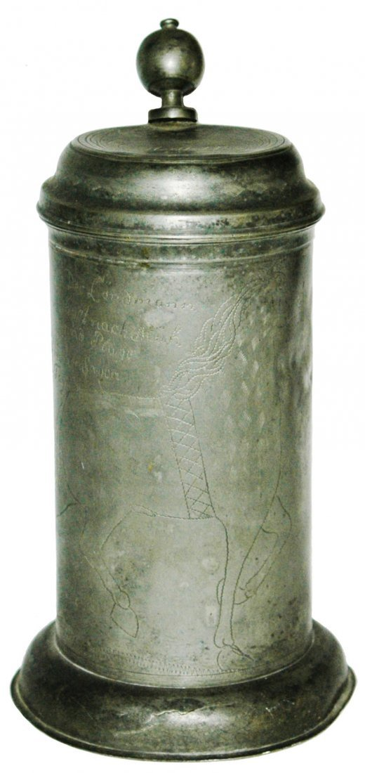 1817 Pewter Engraved Horse1L Stein