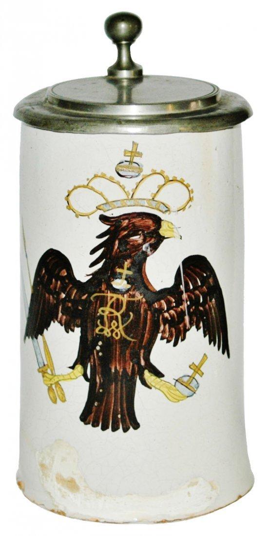 1760 Ansbach Faience Eagle & Crown 1L Stein