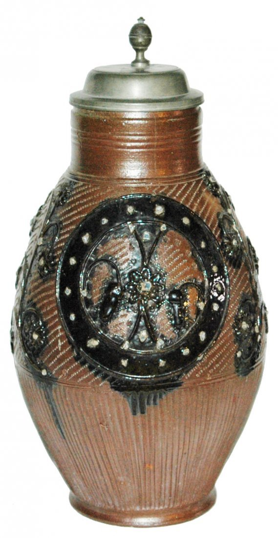 3L Muskau Stoneware Applied Floral 1840 Stein