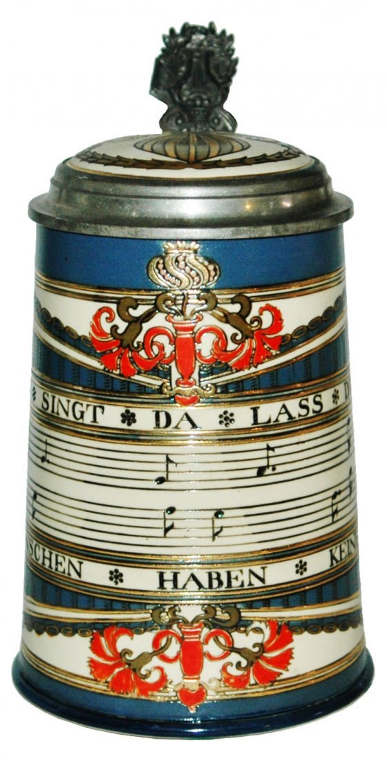 Bars of Music Mettlach Stein w Inlay Lid