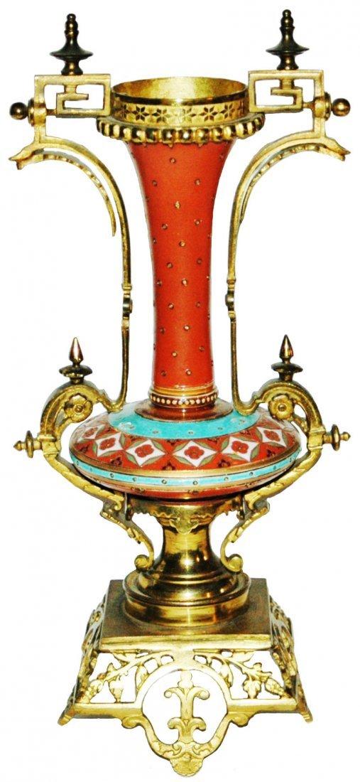 PAIR Mettlach Mosaic Vases w Dore Bronze Mounts