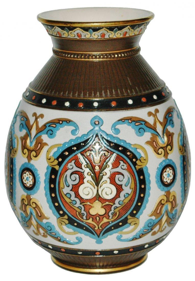 """Mosaic Floral 9""""  Mettlach Vase"""