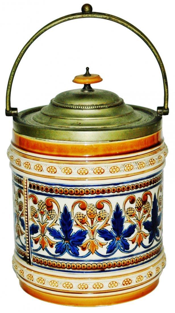 Mettlach Mosaic Floral Tobacco Jar Silver Lid