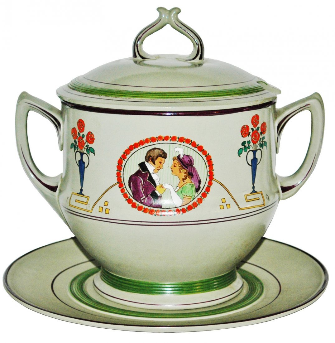 "3L Mettlach Punch Bowl Loving Couple ""FQ"""