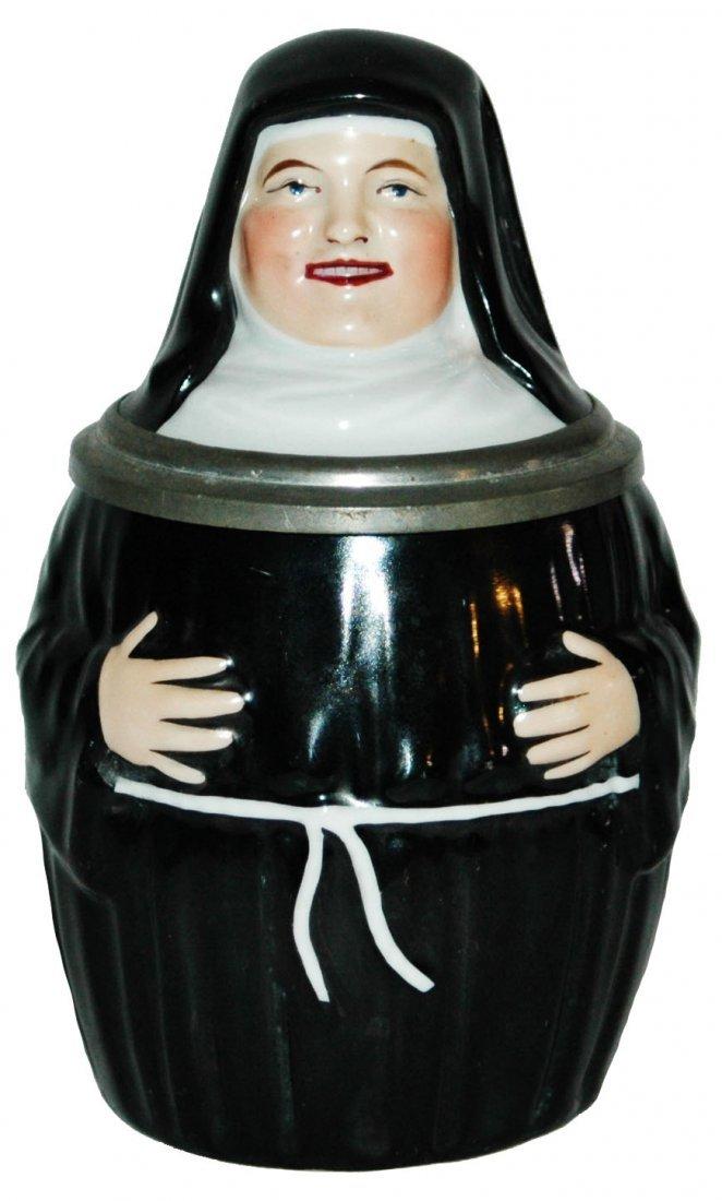 Amberg Porcelain Nun Stein w Great Monk Litho