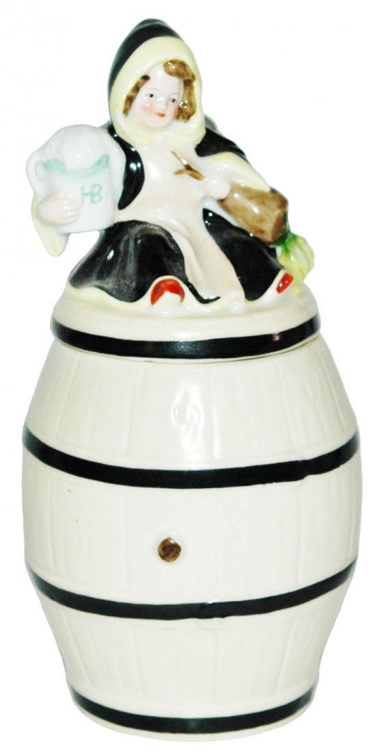 Munich Child on Barrel 1/4L Bohne Porcelain Stein