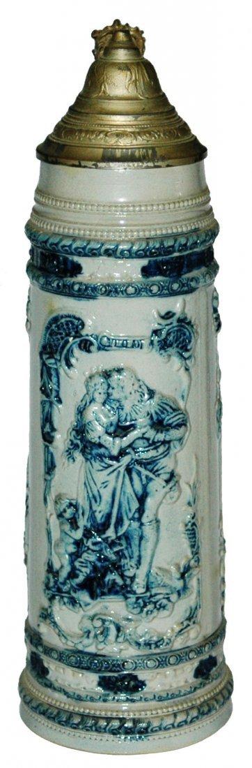 Whites Utica 2L Trumpeter & Maiden Stoneware Stein