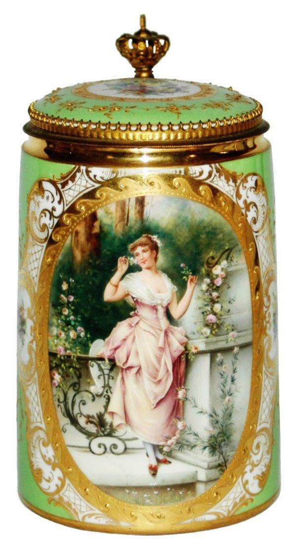 Royal Vienna Woman & Floral Gilded Stein W Brass
