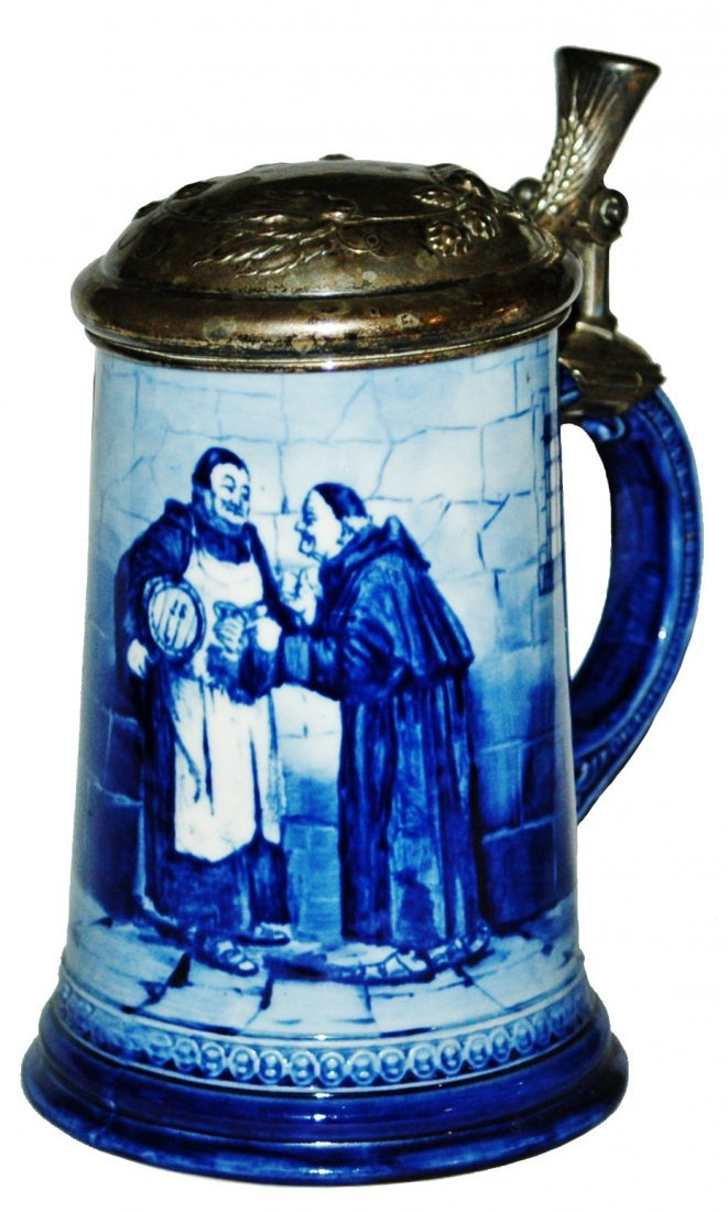 Monks in wine Cellar Lenox Stein w Silver Lid