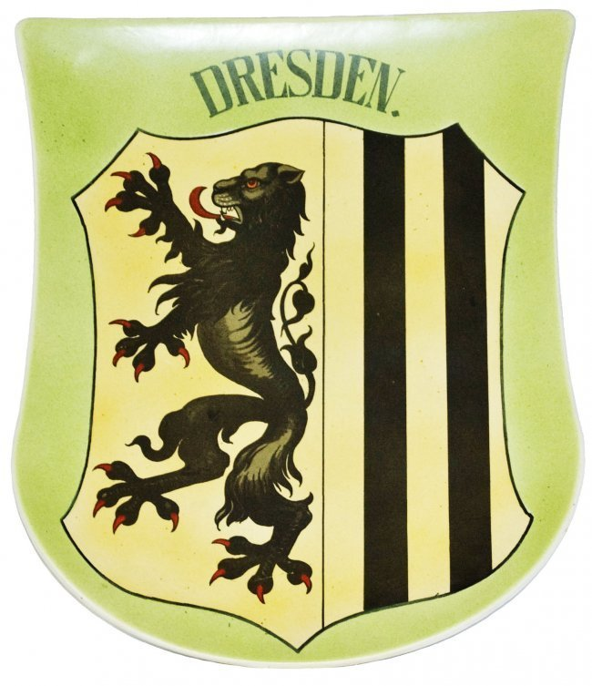Dresden Shield Mettlach Plaque