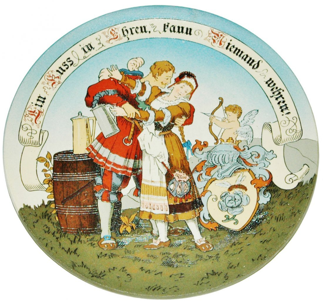 "Cavalier Couple & Verse Mettlach 9"" Plaque"