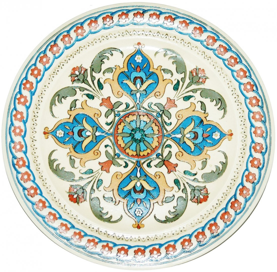 Mosaic Floral Mettlach Etched Plaque