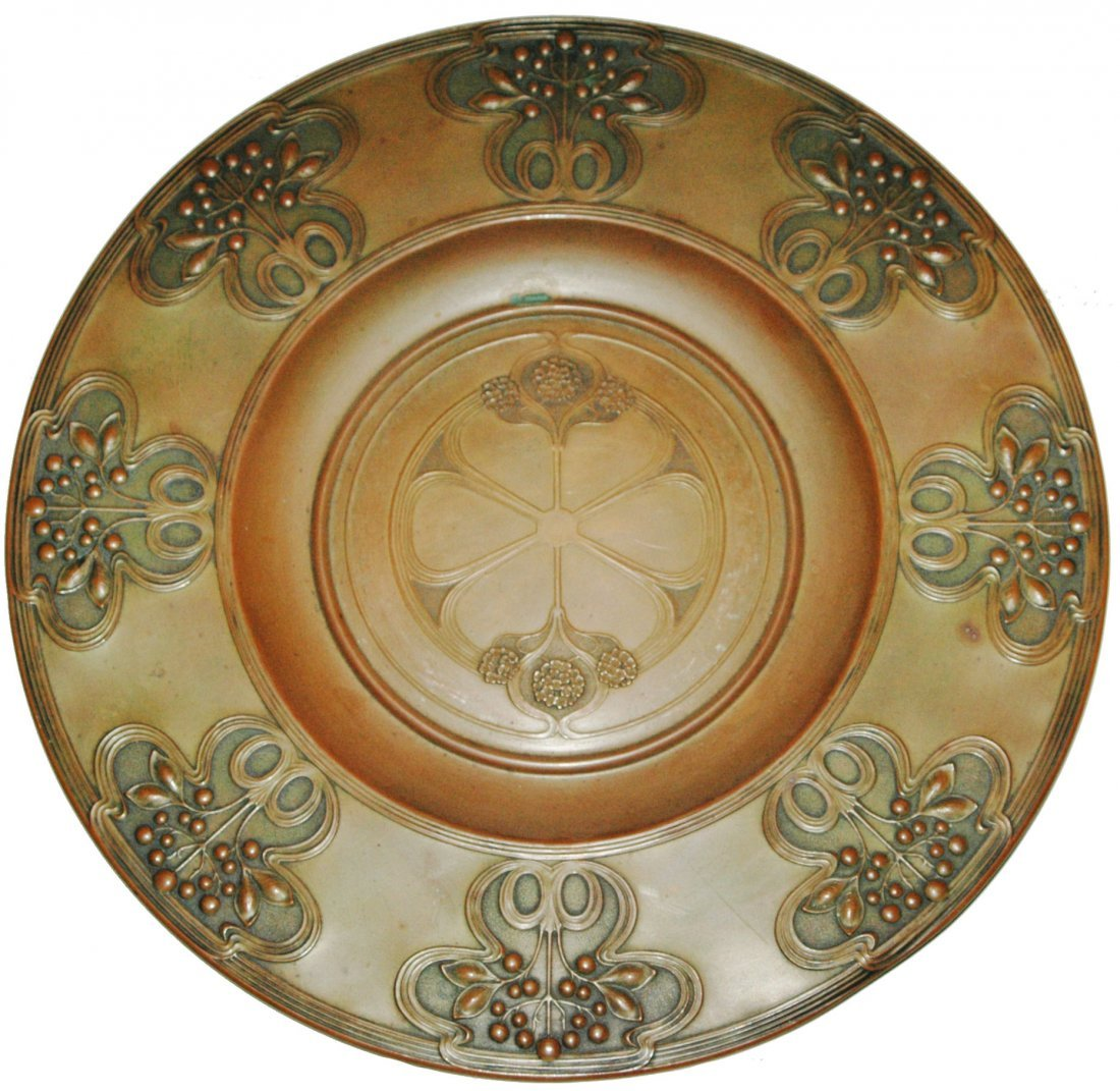 "Copper Art Nouveau Floral Relief 16"" Plaque"