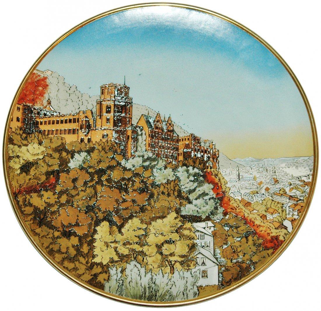 "Heidelberg Castle Mettlach Etched 17"" Plaque"
