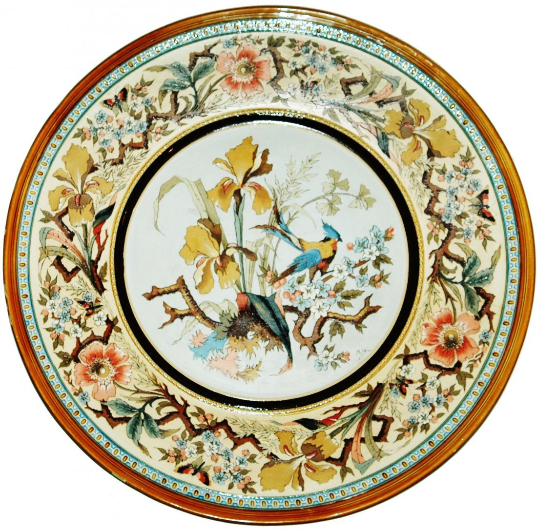 "Bird & Floral Mettlach Etched 19"" Plaque"