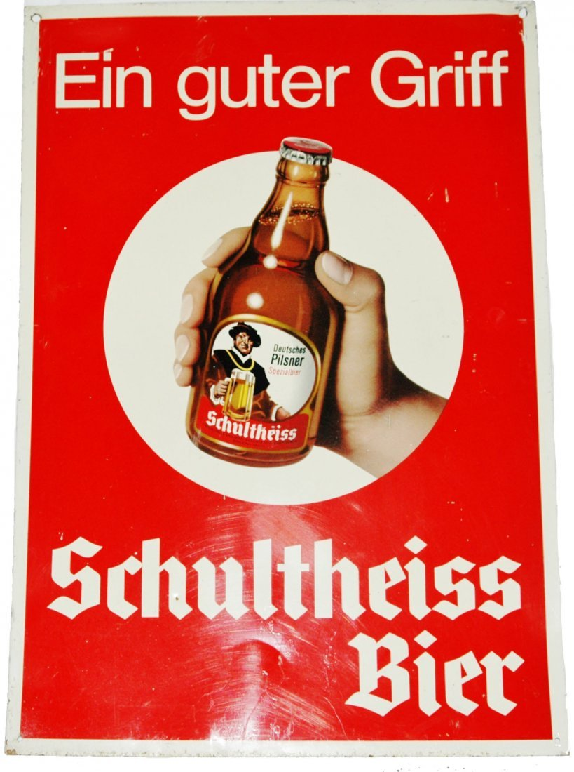 Advertising Tin Litho Brewery Sign Schultheiss Bir