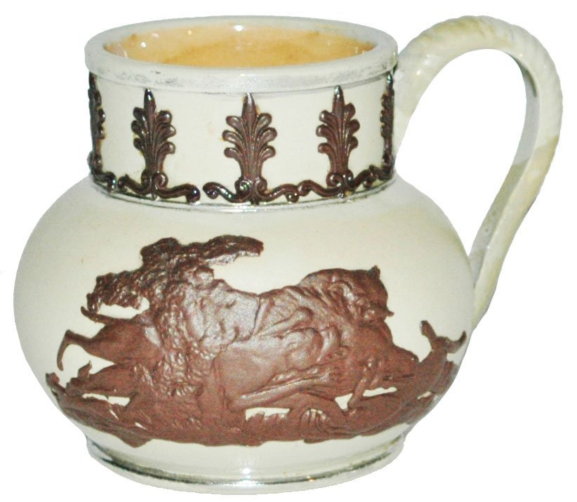 Mettlach Relief Stags Jug Creamer