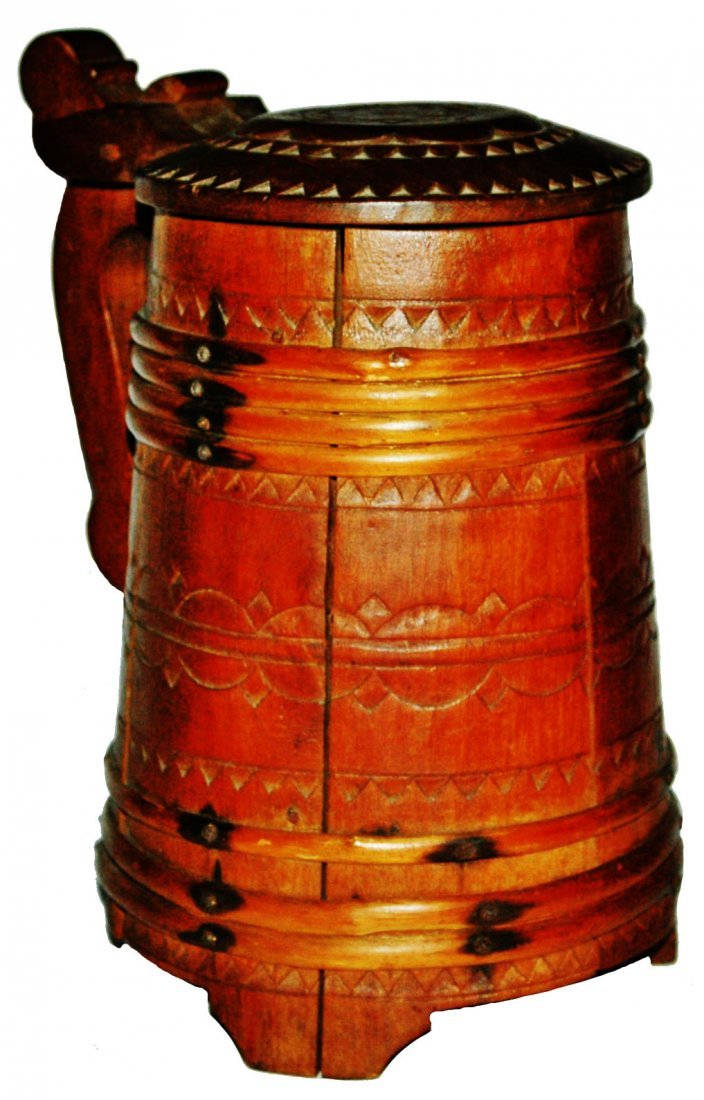 Barrel Shaped 1L Wood Stein w Cane Bands