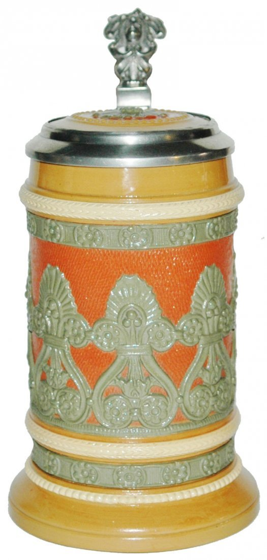Floral Relief Mettlach Inlay Lid Stein