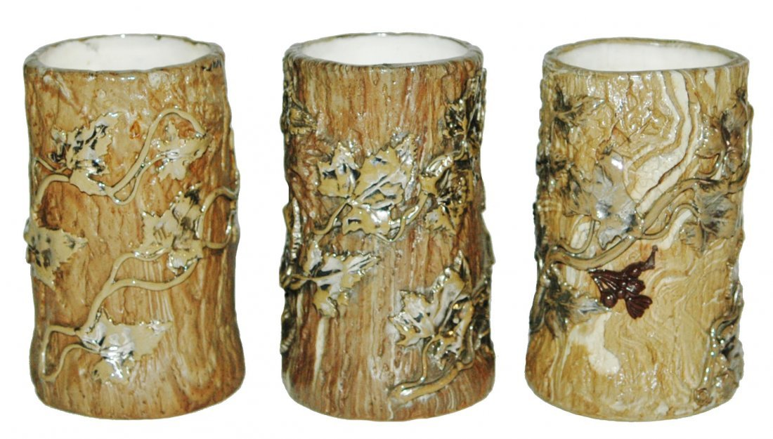 Lot of 3 Mettlach Tree Trunk relief Tumblers