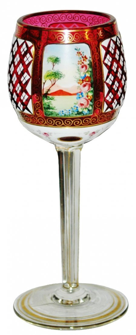 Overlay Glass Enamel Scenes & Cut Panels Goblet