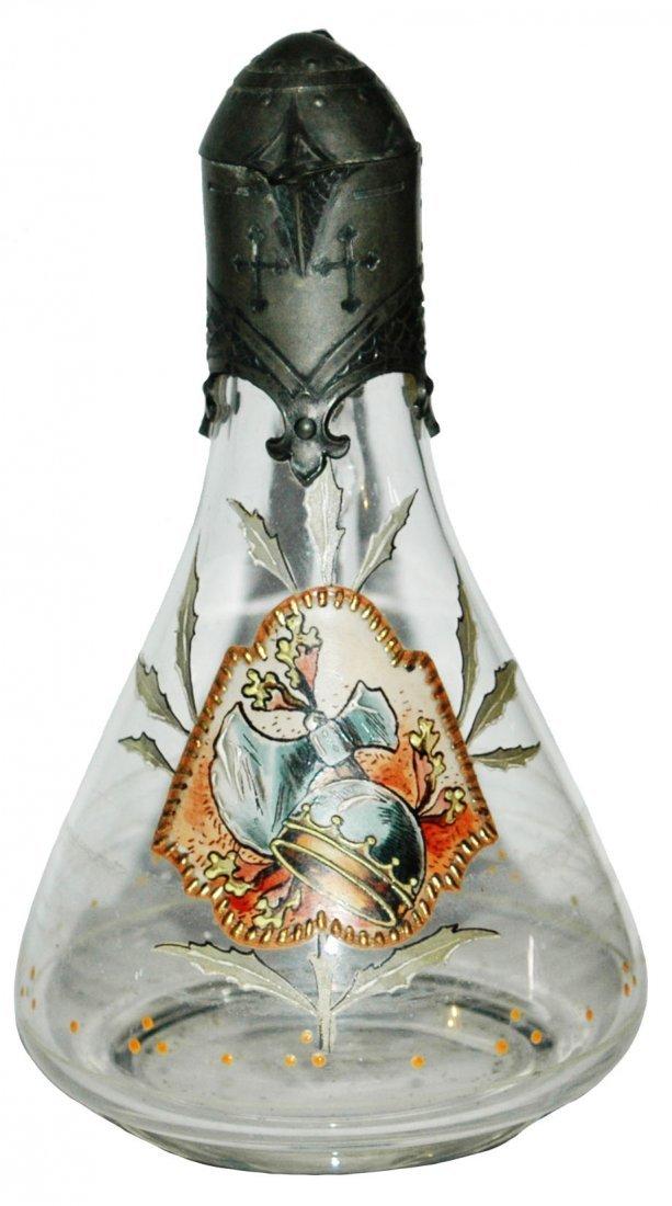 Van Hauten Armour & Axe Glass Stein w Fancy Pewter