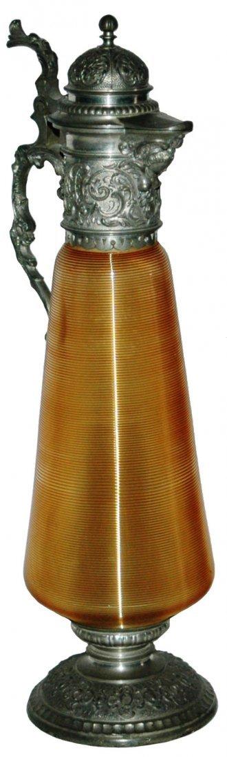 Orange Threaded Glass Stein w Fancy Pewter