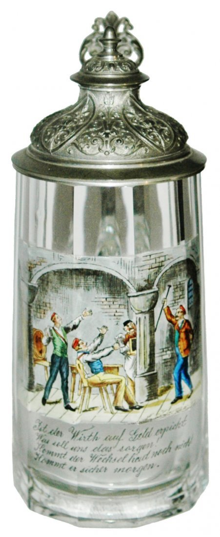 Fraternal Students in Tavern Enameled Stein