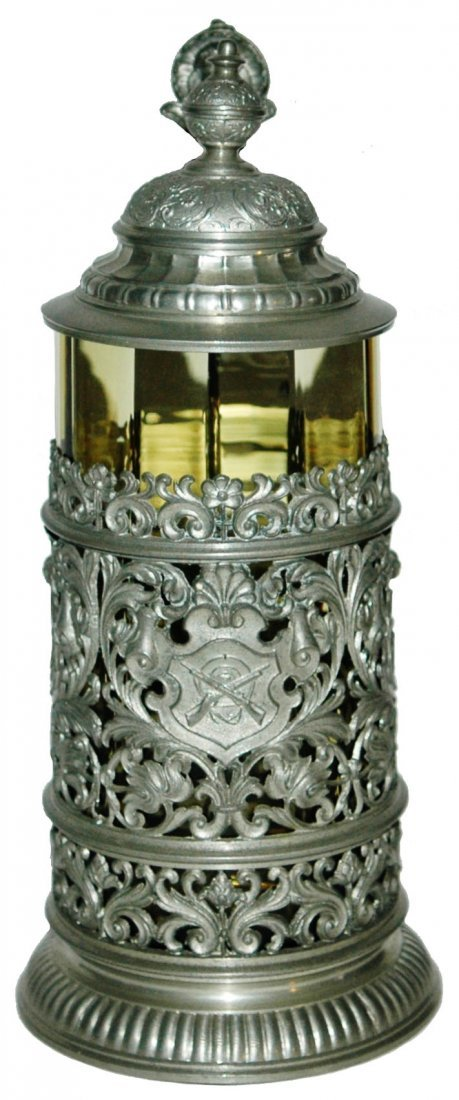 Glass Stein w Rifles & Target & Floral Pewter
