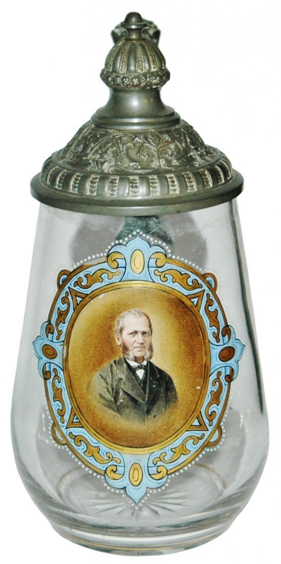 Enamel Portrait Of Big Sideburns Man Glass Stein