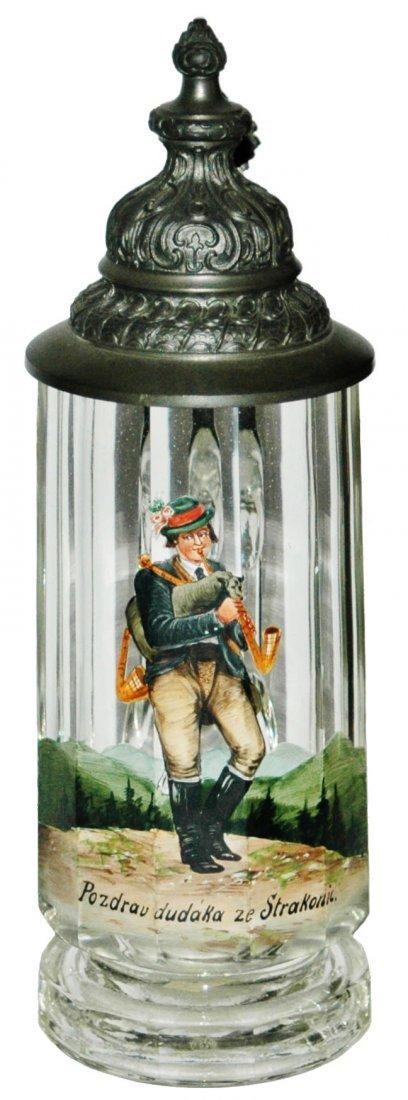 Bagpipe Musician Enamel Facet Glass Stein