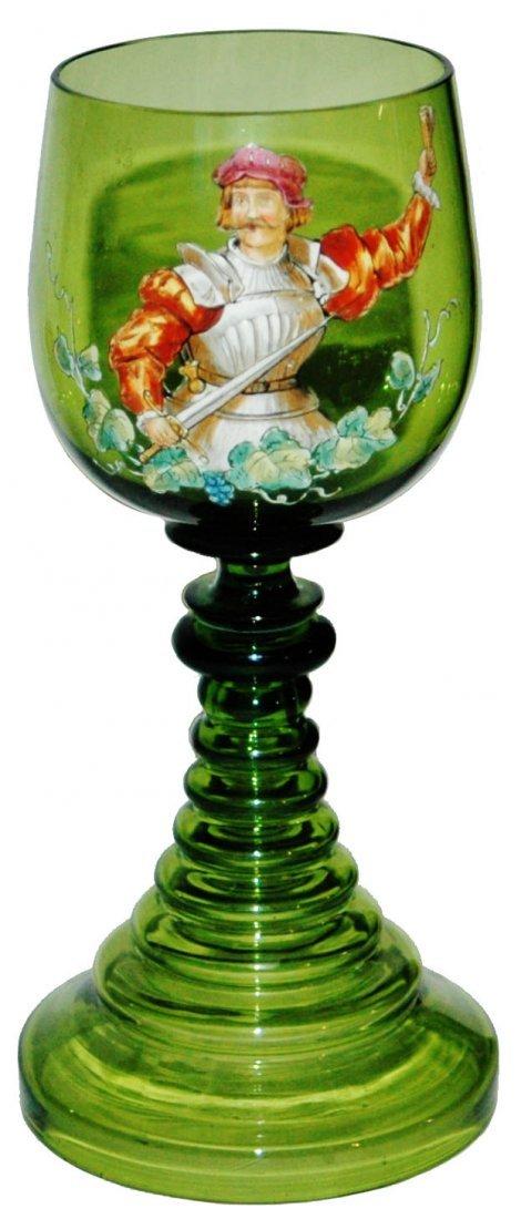 Enameled Cavalier Green Glass Goblet
