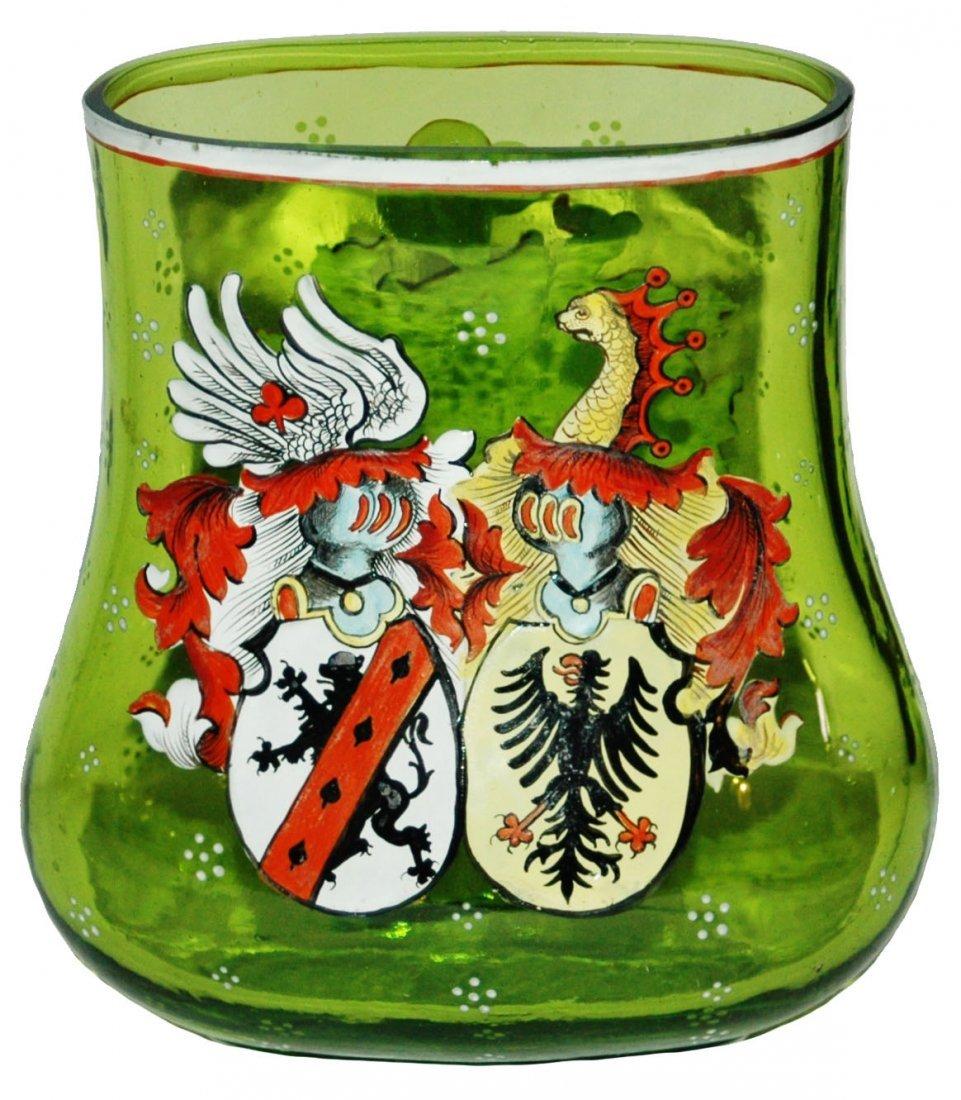 Enamel Double Heraldic Shield Green Glass Vase