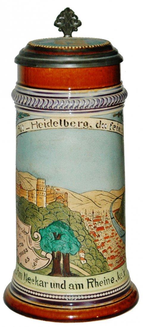 Heidelberg  Scene Etched Stein w Inlay Lid