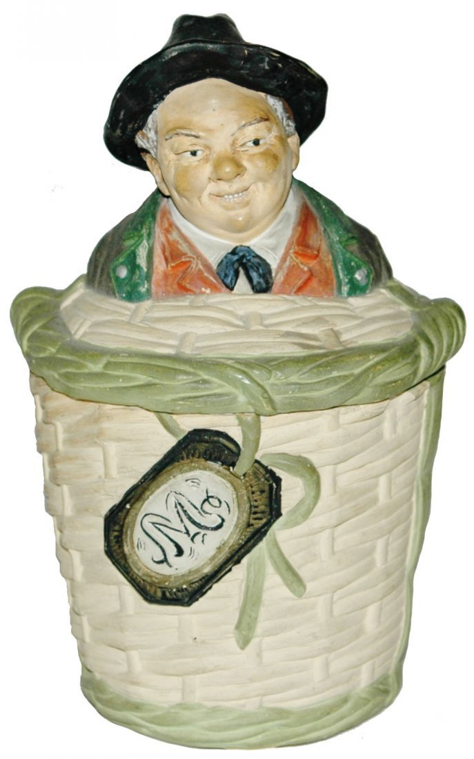 Man in Basket Terracotta Jon Maresch Tobacco Jar